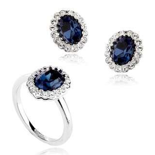 Набор с тёмно-синими камнями Сваровски