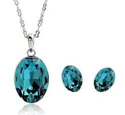 Комплект із блакитним камінням Swarovski