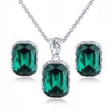 Комплект з зеленими каменями Сваровскі