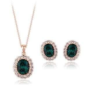 Комплект с тёмно-зелёными камнями Swarovski