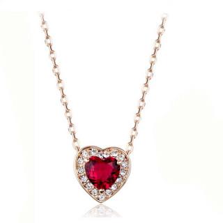 Кулон розовое сердце с камнями Swarovski