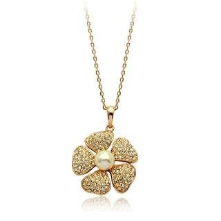 Кулон цветок с жемчугом и камнями Swarovski