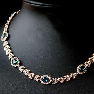 Шикарное ожерелье с синими камнями Swarovski