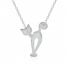 Серебряная цепочка с подвеской Кошкой