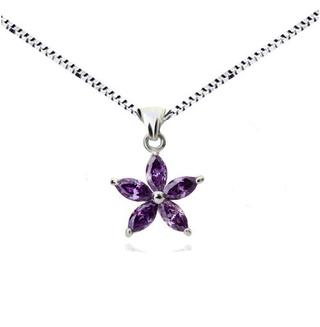 Кулон цветок с фиолетовыми цирконами