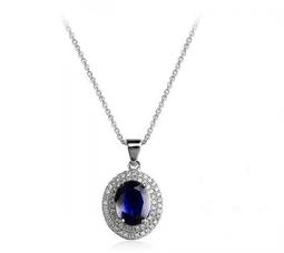 Кулон з овальним темно-синім каменем