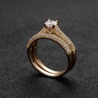 Двойное желтое обручальное кольцо