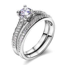 Двойное белое обручальное кольцо