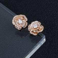 Позолоченные серьги розы Chanel