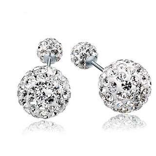 Серебряные серьги пусеты кристальный Dior