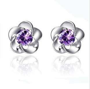 Серебряные серьги цветок с фиолетовым Сваровски