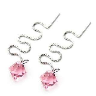 Серебряные серьги с розовыми Сваровски