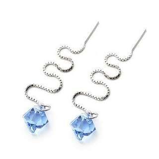 Серебряные серьги с голубыми Сваровски