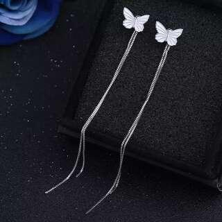 Серьги джекеты с бабочками