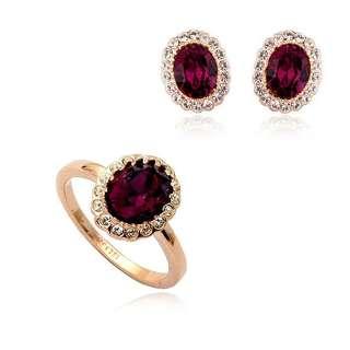 Комплект кольцо и серьги с аметистовыми Swarovski