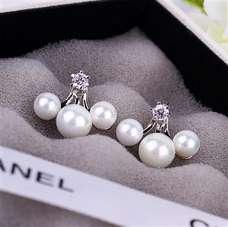 Серьги джекеты Chanel с веером жемчужин