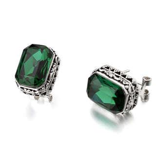 Серьги с крупными зелеными камнями Swarovski