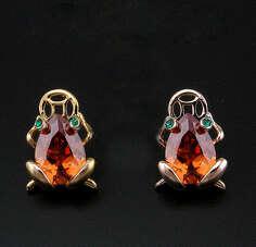 Серьги лягушки с медовыми камнями Swarovski