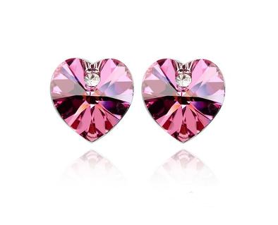 Серьги гвоздики сердце с розовыми камнями