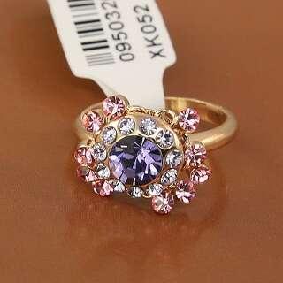 Кольцо с розовыми и сиреневым Сваровски