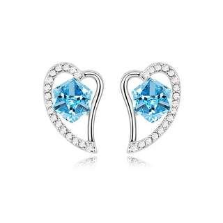 Серьги Сердце с крупным голубым Сваровски