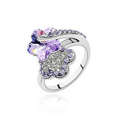Кольцо цветок с сиреневыми камнями Сваровски