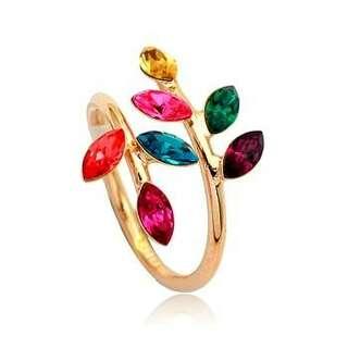 Кольцо Ветвь c разноцветными кристаллами