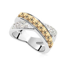 Широкое кольцо с медовыми камнями Сваровски