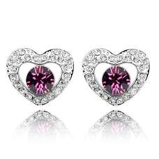 Серьги сердце с аметистовыми камнями Сваровски
