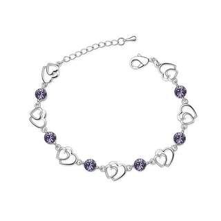 Браслет cердца с фиолетовыми камнями
