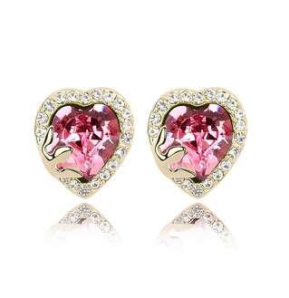 Серьги гвоздики Розовое сердце