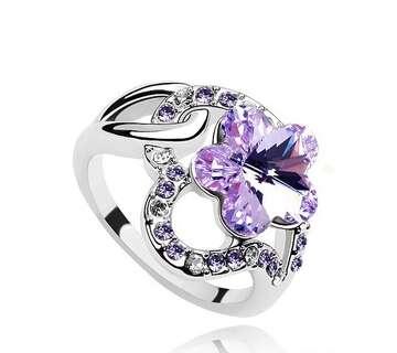 Кольцо с фиолетовым цветком