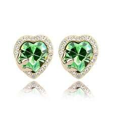 Серьги гвоздики Зелёное сердце