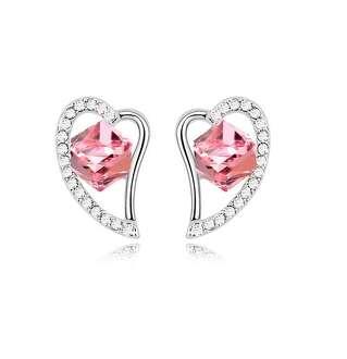 Серьги Сердце с розовым камнем Сваровски