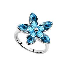 Кольцо Большой цветок с голубыми кристаллами Swarovski
