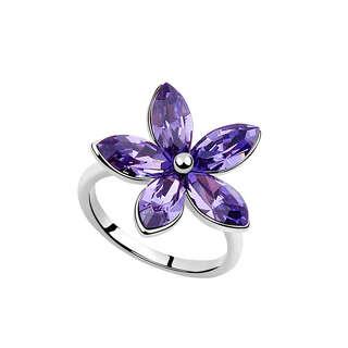 Кольцо Большой цветок с фиолетовыми кристаллами Swarorvski