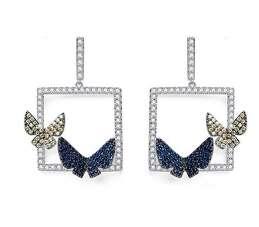 Крупные вечерние квадратные серьги с бабочками