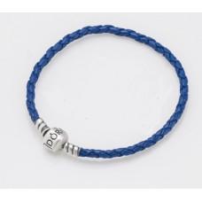 Срібний браслет із синьою шкірою