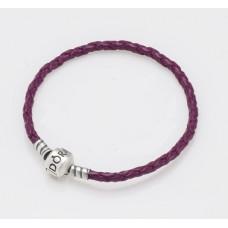Срібний браслет  із фіолетовою шкірою