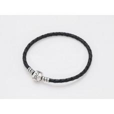 Срібний браслет с черною шкірою