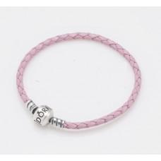 Серебряный браслет Pandora с розовой кожей