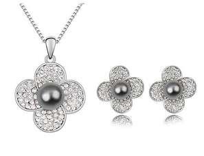 Комлект квіти з сірими перлами та Swarovski
