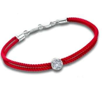 Серебряный браслет красная двойная нить с кулоном