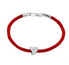 Срібний браслет червона нитка з бусиною серцем