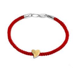 Срібний браслет червона нитка із золотою пластиною на підвісці