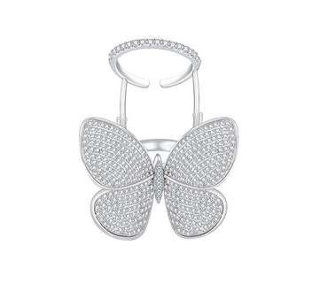 Каблучка метелик в білій позолоті з рухомими крилами