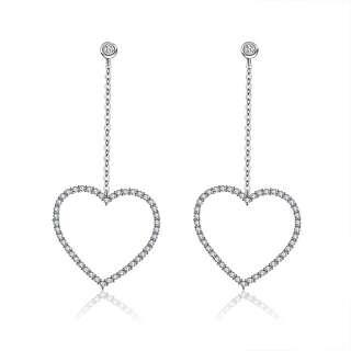 Длинные серьги цепочки с сердцем