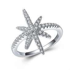 Кольцо звезда Монако с микровставкой цирконов