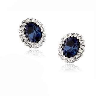 Классические серьги с синими камнями Сваровски