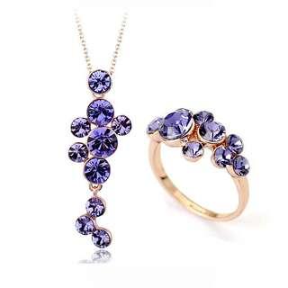 Позолоченный комплект гроздья фиолетовых Swarovski